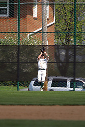 22 April 2006:  ....Titan outfielder Nick Chilczenkowski positions himself under a well hit fly ball.....In CCIW, Division 3 action, the Titans of Illinois Wesleyan capped the Auggies of Augustana College by a scor of 3-2 in game one of a double card afternoon.  Games were held at Jack Horenberger field on the campus of Illinois Wesleyan University in Bloomington, Illinois