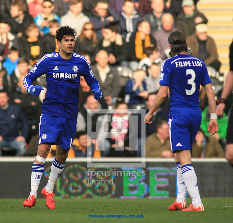 Diego Costa (left) of Chelsea celebrates his goal 2nd goal of the game to make it 0-2  during the Barclays Premier League match at KC Stadium, Hull<br /> Picture by Richard Gould/Focus Images Ltd +44 7855 403186<br /> 22/03/2015