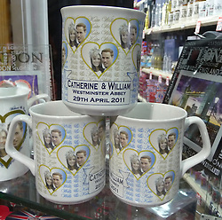 © under license to London News Pictures.  .William and Kate souvenirs ahead of the Royal Wedding in April 2011..Mugs of the Royal Couple..Photo credit should read Craig Shepheard / London News Pictures