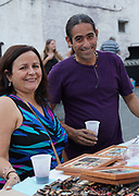 Cuban guest artist, Julio Cepeda, Trinidad, Cuba, and friend at reception, West Reading, Berks Co., PA