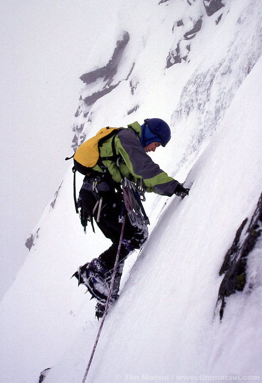 A young Colin Haley climbing Chair Peak.