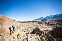 Hiking in the Alabama Hills, California.