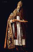 Pope Gregory I (Latin: Gregorius I) (c. 540 – 12 March 604), better known in English as Gregory the Great, was pope from 3 September 590 until his death. Gregory is well known for his writings. Portrait by Francisco de Zurbarán Date 1626-1627. oil on canvas