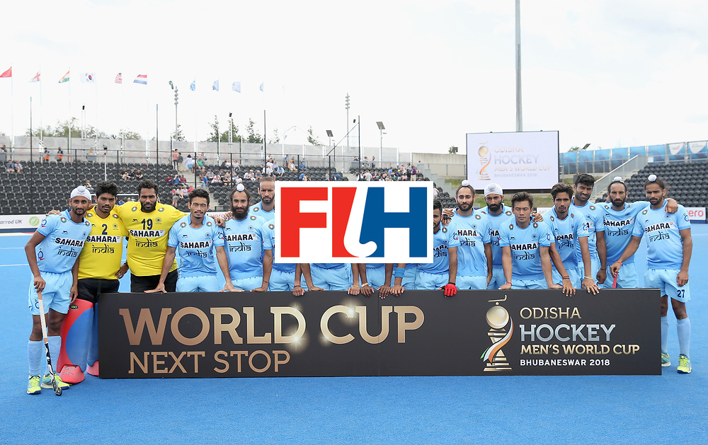 LONDON, ENGLAND - JUNE 25:  India players pose for a photograph after the 5th/6th place match between India and Canada on day nine of the Hero Hockey World League Semi-Final at Lee Valley Hockey and Tennis Centre on June 25, 2017 in London, England.  (Photo by Alex Morton/Getty Images)