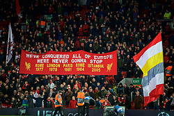 LIVERPOOL, ENGLAND - Tuesday, December 11, 2018: Liverpool supporters on the Spion Kop during the UEFA Champions League Group C match between Liverpool FC and SSC Napoli at Anfield. (Pic by David Rawcliffe/Propaganda)
