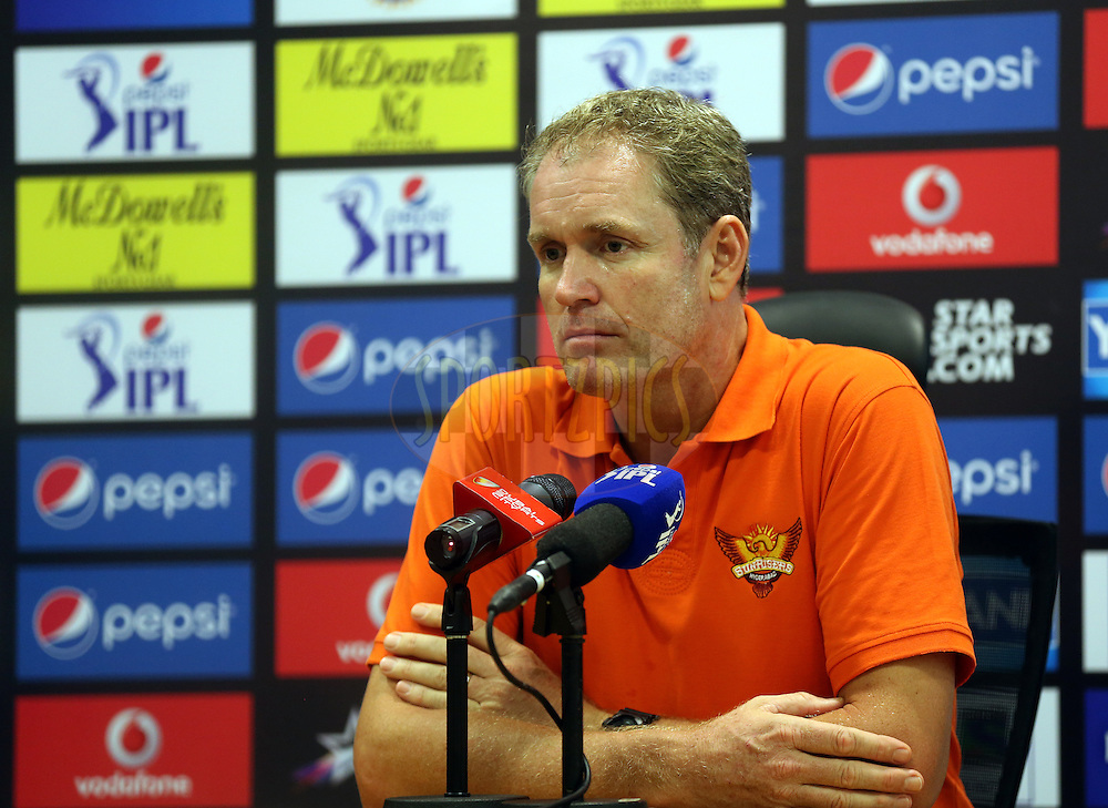 Tom Moody Coach of the Sunrisers Hyderabad during match 20 of the Pepsi Indian Premier League Season 2014 between the Mumbai Indians and the Sunrisers Hyderabad held at the Dubai International Stadium, Dubai, United Arab Emirates on the 30th April 2014<br /> <br /> Photo by Sandeep Shetty / IPL / SPORTZPICS