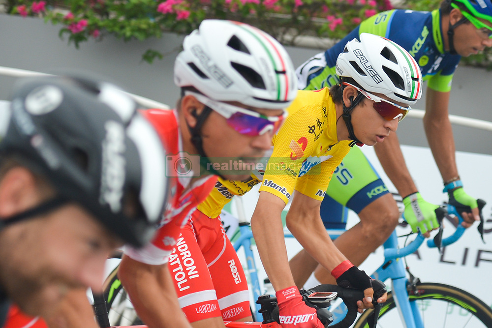 September 24, 2017 - Zhuhai, Guangdong, China - Kevin Rivera Serran from Androni Sidermec Bottecchia team, in the Yellow Leader Jersey, during the start to the fifth and final stage of the 2017 Tour of China 2, the 91.2km Zhuhai Hengqin Circuit Race. .On Sunday, 24 September 2017, in Hengqin district, Zhuhai City, Guangdong Province, China. (Credit Image: © Artur Widak/NurPhoto via ZUMA Press)