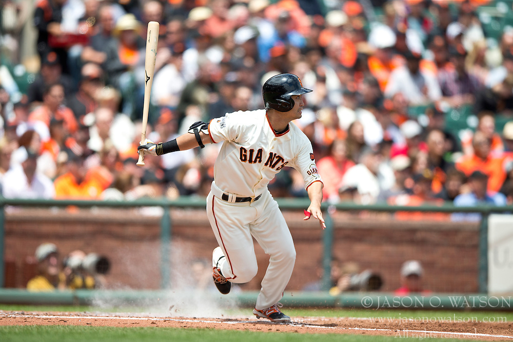 SAN FRANCISCO, CA - MAY 21:  Nori Aoki #23 of the San Francisco Giants hits a single against the Los Angeles Dodgers during the first inning at AT&T Park on May 21, 2015 in San Francisco, California.  (Photo by Jason O. Watson/Getty Images) *** Local Caption *** Nori Aoki