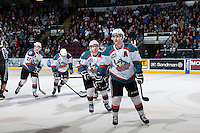KELOWNA, CANADA - APRIL 3: Damon Severson #7, Rourke Chartier #14, Riley Stadel #3 and Ryan Olsen #27 of the Kelowna Rockets skate to the bench to celebrate a goal against the Seattle Thunderbirds on April 3, 2014 during Game 1 of the second round of WHL Playoffs at Prospera Place in Kelowna, British Columbia, Canada.   (Photo by Marissa Baecker/Getty Images)  *** Local Caption *** Damon Severson; Rourke Chartier; Riley Stadel; Ryan Olsen;