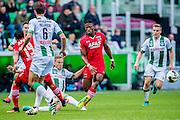 GRONINGEN - 23-10-2016, FC Groningen - AZ, Noordlease Stadion, 0-2,  FC Groningen speler Kasper Larsen, AZ speler Fred Friday