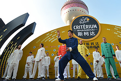 October 28, 2017 - Shanghai, China - Riders during Tai chi activity, at the 1st TDF Shanghai Criterium 2017 - Media Day..On Saturday, 28 October 2017, in Shanghai, China. (Credit Image: © Artur Widak/NurPhoto via ZUMA Press)