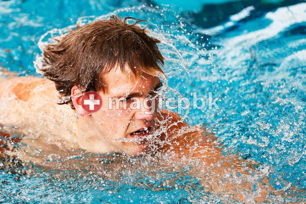 GEN's Erik VAN DOOREN of Switzerland reacts after competing in the men's 50m Freestyle Heats during the Swiss Short Course Swimming Championships in Lausanne, Switzerland, Friday, Nov. 29, 2013. (Photo by Patrick B. Kraemer / MAGICPBK)