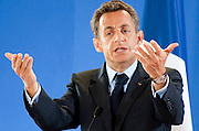 French President Nicolas Sarkozy speaks during a press conference after an EU summit at the European Council headquarters  in  Brussels, Belgium on 2009-06-19 Ireland secured Friday legal guarantees on sovereignty issues from European partners to pave the way for a second Irish referendum on the EU's reform treaty, the EU presidency confirmed.  © by Wiktor Dabkowski  ..FRANCE OUT