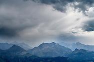 Rain over the foothills of the Bernese Alps, Niederhorn, Interlaken, Berne, Switzerland