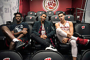 MADISON, WI-NOV. 7, 2016: (left to right) UW basketball players Nigel Hayes, Jordan Hill, and Bronson Koenig discuss sit for a portrait at the University of Wisconsin Monday, Nov. 7, 2016. Lauren Justice for The New York Times