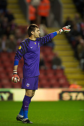 LIVERPOOL, ENGLAND - Thursday, September 16, 2010: FC Steaua Bucuresti's goalkeeper Ciprian Tatarusanu in action against Liverpool during the opening UEFA Europa League Group K match at Anfield. (Photo by David Rawcliffe/Propaganda)