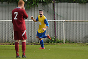 Hollands and Blair striker James McDonald celebrates his goal during the Southern Counties East match between AFC Croydon Athletic and Hollands & Blair at the Mayfield Stadium, Croydon, United Kingdom on 10 October 2015. Photo by Mark Davies.