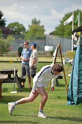 © Licensed to London News Pictures. 14/08/2013. Surbiton, UK. Rutger Beijderwellen, England warms up. People participate in the14th World Association Croquet Championship at the Surbiton Croquet Club, Kingston upon Thames on the 14th August 2013. The Final will be played on Sunday 18th August. 80 competitors from 20 countries are taking part. Photo credit : Mike King/LNP
