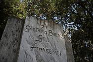 gaetano Bresci memorial, in an anonomous park in carrara