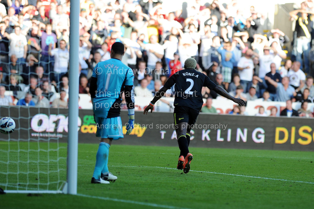 Wigan's Arouna Kone celebrates after 'scoring' the equaliser but the goal is disallowed. Barclays Premier league, Swansea city v Wigan Athletic at the Liberty Stadium in Swansea, South Wales on Saturday 20th October 2012. pic by Andrew Orchard, Andrew Orchard sports photography,