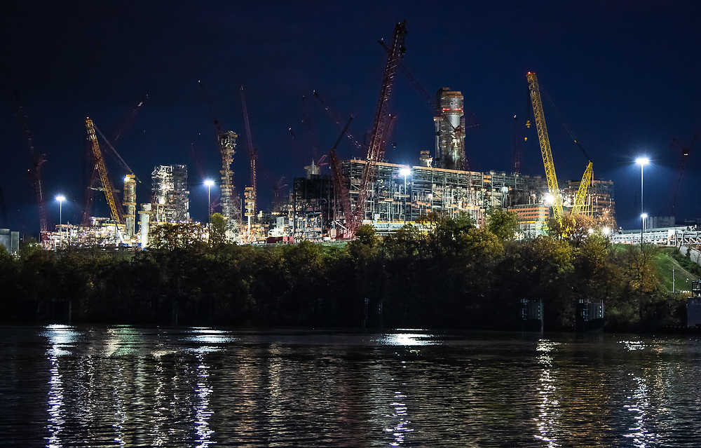 """Shell's sprawling plastics plant , also known as an """"ethane cracker,"""" under construction in Beaver County, Pennsylvania, part of  the growing petrochemcial industry in the United States. The  expanding shale gas industry has been building demand for fossil fuels from its fracked oil and gas wells by promoting turning its products into plastics and petrochemicals."""