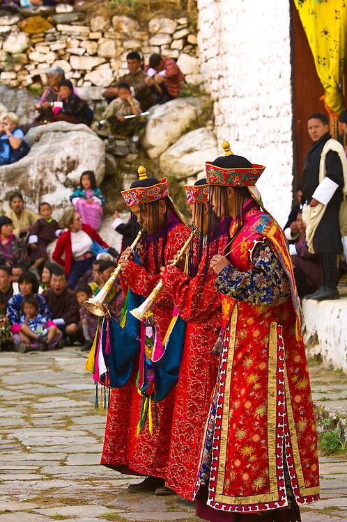 Musicians perform during the Paro Tsechu (Festival), Paro, Bhutan