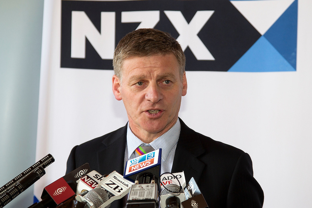Minister of Finance Bill English speaks to the media during the visit to the NZX for Meridian Energy float in Wellington, New Zealand, Tuesday, October 29, 2013. Credit: SNPA / Marty Melville