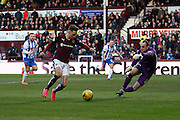 Hearts FC Midfielder Sam Nicholson takes on the keeper during the Ladbrokes Scottish Premiership match between Heart of Midlothian and Kilmarnock at Tynecastle Stadium, Gorgie, Scotland on 27 February 2016. Photo by Craig McAllister.