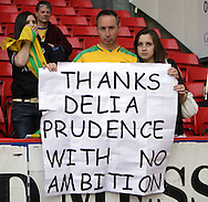 London - Sunday, May 3rd, 2009: Norwich City supporters protest after the Coca Cola Championship match at The Valley, London. (Pic by Mark Chapman/Focus Images)