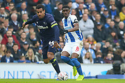 Brighton and Hove Albion midfielder Yves Bissouma (8) battles with Derby County midfielder Tom Huddlestone (44)  during the The FA Cup 5th round match between Brighton and Hove Albion and Derby County at the American Express Community Stadium, Brighton and Hove, England on 16 February 2019.