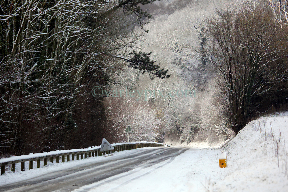 30 January 2019. Pas de Calais, France.<br /> Snow falls on the hills of Hauts de France in the villages close to Montreuil Sur Mer. <br /> Photo©; Charlie Varley/varleypix.com