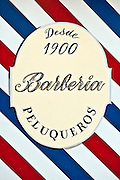 Barber shop sign, Madrid, Spain
