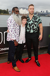 Sydney Premiere of Storm Boy red carpet at St.George OpenAir Cinema, Mrs Macquaries Road Sydney. 10 Jan 2019 Pictured: Trevor Jamieson, Finn Little, Jai Courtney. Photo credit: Richard Milnes / MEGA TheMegaAgency.com +1 888 505 6342