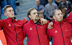 02.11.2016, Arena Nova, Wiener Neustadt, AUT, EHF, Handball EM Qualifikation, Österreich vs Finnland, Gruppe 3, im Bild v.l. Nikola Bilyk (AUT), Gerald Zeiner (AUT), Robert Weber (AUT) // during the EHF Handball European Championship 2018, Group 3, Qualifier Match between Austria and Finland at the Arena Nova, Wiener Neustadt, Austria on 2016/11/02. EXPA Pictures © 2016, PhotoCredit: EXPA/ Sebastian Pucher