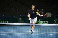 Britains Dominic Inglot and Jamie Murray pictured at the practice session prior to the Davis Cup match by BNP Paribas between Great Britain and Japan at the National Indoor Arena, Birmingham.<br /> Picture by Anthony Stanley/Focus Images Ltd 07791 688 420<br /> 04/03/2016