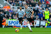 Miguel Almiron (#24) of Newcastle United bursts through on goal during the Premier League match between Newcastle United and Huddersfield Town at St. James's Park, Newcastle, England on 23 February 2019.