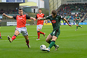 Matthew Kennedy (16) of Plymouth Argyle crosses the ball during the EFL Sky Bet League 2 match between Plymouth Argyle and Morecambe at Home Park, Plymouth, England on 18 March 2017. Photo by Graham Hunt.