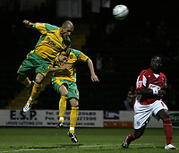 Photo: Paul Thomas.<br /> Rotherham United v Norwich City. Carling Cup. 19/09/2006.<br /> <br /> Craig Fleming of Norwich (5) dives through the air to score their 3rd goal.