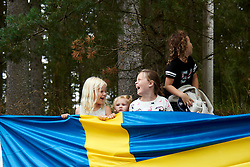 Fans prepare for the race to arrive during Postnord UCI WWT Vårgårda WestSweden Road Race, a 145.3 km road race in Vårgårda, Sweden on August 18, 2019. Photo by Sean Robinson/velofocus.com