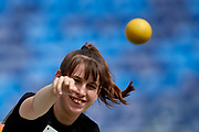 Chorzow, Poland - 2018 June 10: Special Olympics Athlete Natalia Szablewska throws while women's shot put athtletics competition during National Special Olympics Games 2018 at Slaski Stadium on June 10, 2018 in Chorzow, Poland.<br /> <br /> Adam Nurkiewicz declares that he has no rights to the image of people at the photographs of his authorship.<br /> <br /> Picture also available in RAW (NEF) or TIFF format on special request.<br /> <br /> Any editorial, commercial or promotional use requires written permission from the author of image.<br /> <br /> Image can be used in the press when the method of use and the signature does not hurt people on the picture.<br /> <br /> Mandatory credit:<br /> Photo by &copy; Adam Nurkiewicz / Mediasport