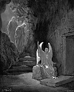 Angel showing Mary Magdalene and 'the other Mary' Christ's empty tomb. Mark 16.5. From Gustave Dore illustrated 'Bible' 1865-6. Wood engraving