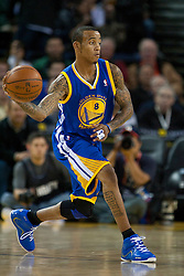 October 29, 2010; Oakland, CA, USA;  Golden State Warriors shooting guard Monta Ellis (8) passes the ball against the Los Angeles Clippers during the first quarter at Oracle Arena. The Warriors defeated the Clippers 109-91.