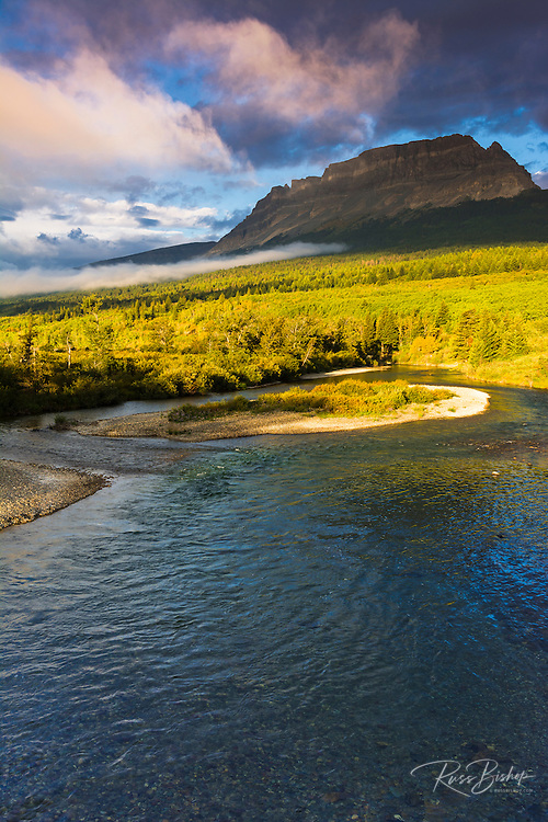 The Saint Mary River under Flattop Mountain, Glacier National Park, Montana USA