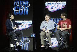 June 17, 2017 - Washington, District of Columbia, U.S - David Tennant, who portrayed the Tenth Doctor in the ''Doctor Who'' television series, taking questions from Dr. Grant Tremblay (in red shirt) and Dr. Matt Shindell (in grey shirt) at Awesome Con during a Future Con sub-event. (Credit Image: © Evan Golub via ZUMA Wire)
