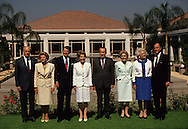 Presidents Ford,Reagan, Nixon, and Bush and their wives pose for a photograph at the opening of the Nixon Presidential Library ..Photograph by Dennis Brack bb 27