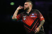 Michael Smith during the PDC Premier League Darts at Arena Birmingham, Birmingham, United Kingdom on 25 April 2019.