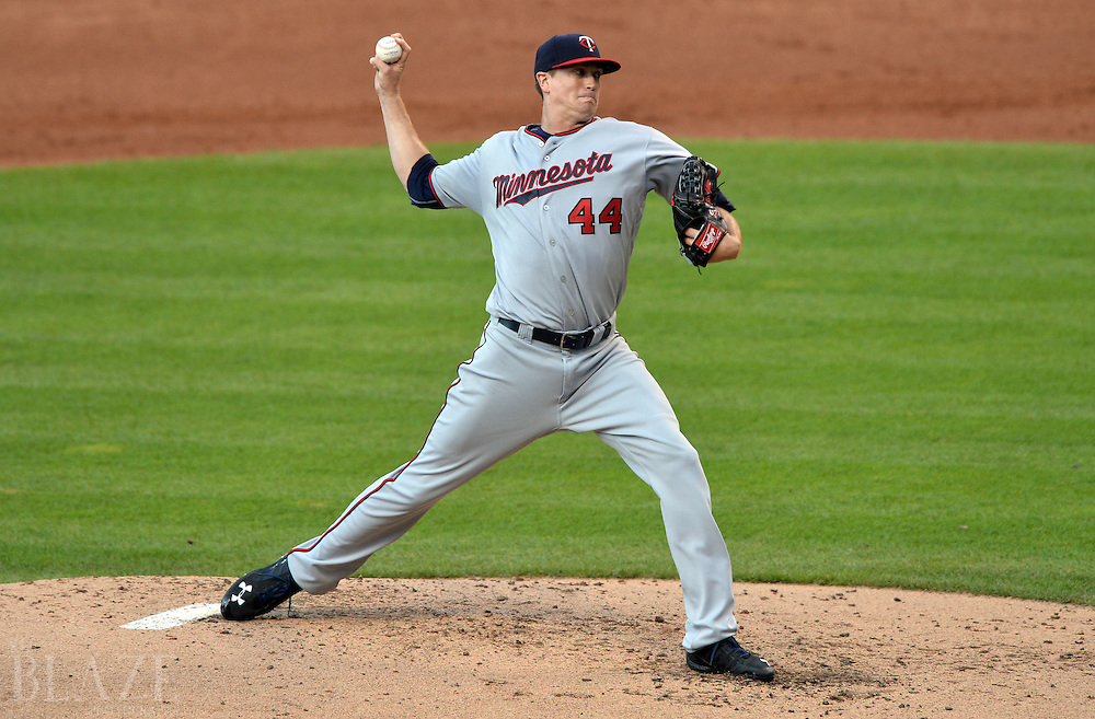 Aug 2, 2016; Cleveland, OH, USA; Minnesota Twins starting pitcher Kyle Gibson (44) throws a pitch  during the second inning against the Cleveland Indians at Progressive Field. Mandatory Credit: Ken Blaze-USA TODAY Sports