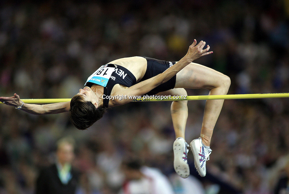 New Zealands Angela McKee in action during the Womens High Jump Final in the Athletics at the MCG on day eight of the XV111 Commonwealth Games,Melbourne ,Australia.Thursday March 23,2006.Photo:Joe Mann/PHOTOSPORT. *** Local Caption ***