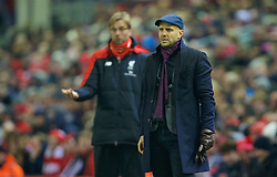 LIVERPOOL, ENGLAND - Wednesday, January 20, 2016: Exeter City's manager Paul Tisdale during the FA Cup 3rd Round Replay match against Liverpool at Anfield. (Pic by David Rawcliffe/Propaganda)