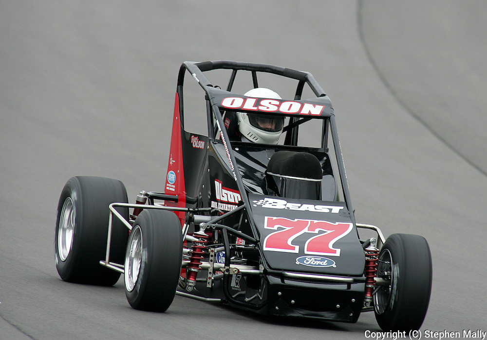 05 MAY 2007: Brian Olson (77) of Brian Olson Racing qualifies before the Casey's General Stores USAC Triple Crown at the Iowa Speedway in Newton, Iowa on May 5, 2007.